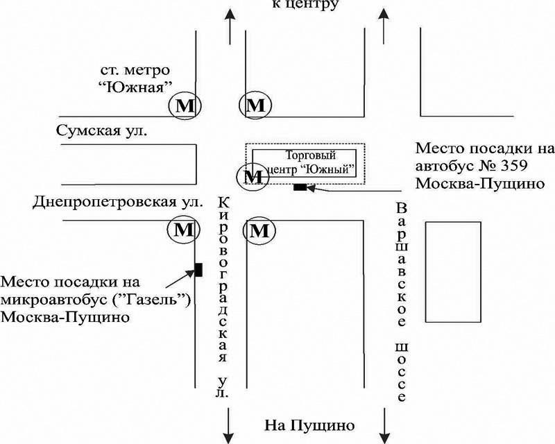 Схема расположения автобусных